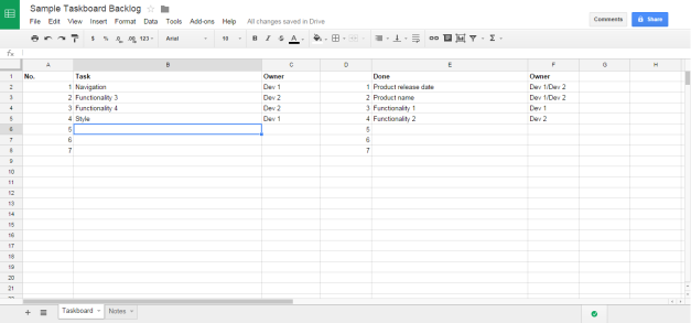 Sample format of the Google spreadsheet.